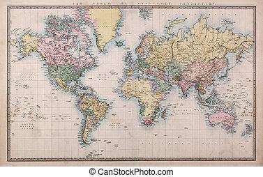 地圖, 老, 投射, 世界, mercators