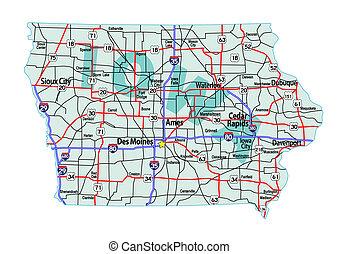 地圖, 衣阿華, 高速公路, 州際