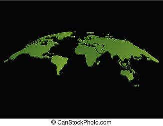 地圖, 被隔离, 矢量, 綠色的背景, 世界, 黑色