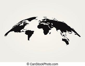 地圖, 被隔离, 矢量, 黑色的背景, 世界, 白色