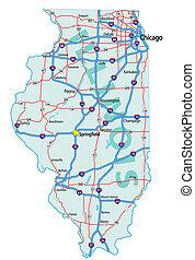 地圖, 說明道路, 伊利諾伊
