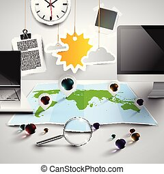 地圖, 辦公室, 工具, 陽光普照, 矢量, 世界, 3d