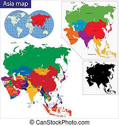 地圖, 鮮艷, 亞洲