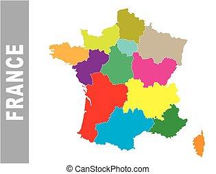 地圖, 鮮艷, 政治, 法國, 矢量, 管理