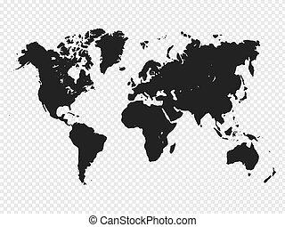 地圖, 黑色半面畫像, 插圖, 背景。, 矢量, 黑色, 世界, 透明