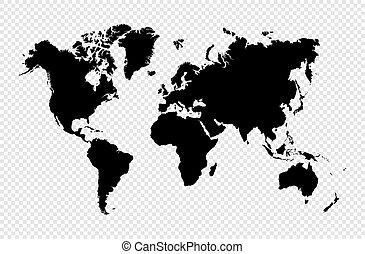 地圖, 黑色半面畫像, eps10, 被隔离, 矢量, 黑色, 世界, file.
