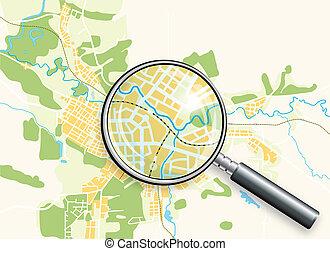 地圖, loupe, 城市