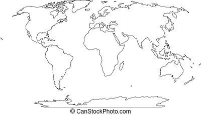 地圖, outline, 套間, 簡單, 插圖, 矢量, world.