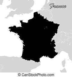 地圖, sihouette, 政治, 法國