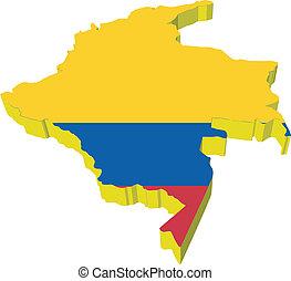 地圖, vectors, 哥倫比亞, 3d