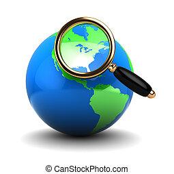 地球全球, 放大玻璃