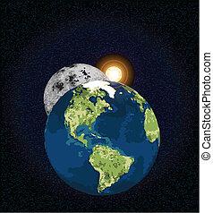 地球, 月亮, 太陽
