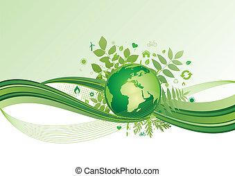 地球, 環境, 綠色, ba, 圖象