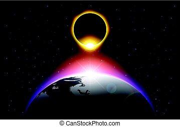 地球, 矢量, 日蝕, 太陽