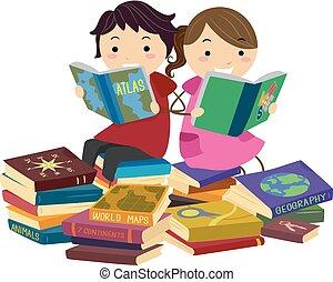地理, 書, stickman, 閱讀, 孩子