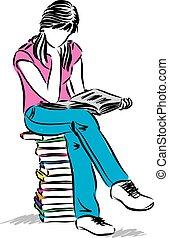 坐的 女孩, 青少年, 插圖, 讀書