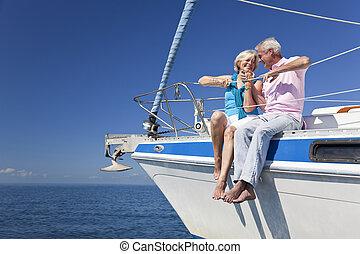 坐, 夫婦, 航行, 年長者, 小船, 愉快