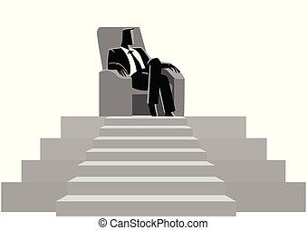 坐, 沙發, 頂部, 商人, 階段, 舒適