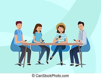 坐, 隊, 桌子。, 伙計, 辦公室