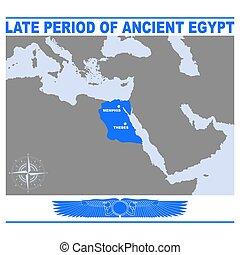 埃及, 后來, 古老, 時期, 矢量, 地圖