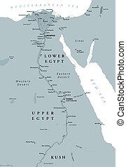 埃及, 地圖, 古老, 上色, 灰色