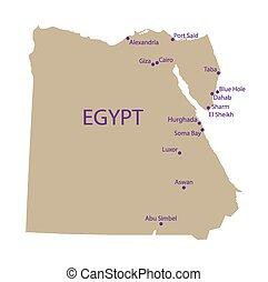 埃及, 地圖, 遊人