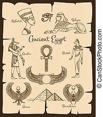 埃及, 符號, 古老, 矢量