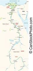 埃及, 重要, 視域, 河, 地圖, nile, 古老