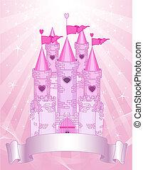 城堡, 卡片, 粉紅色, 地方