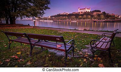 城堡, bratislava, 河, 斯洛伐克, dunabe, 在上方