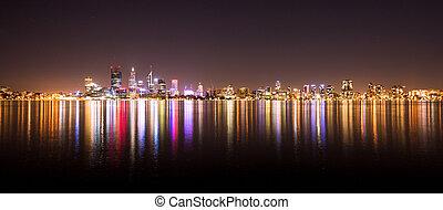 城市地平線, 夜晚, 佩思, 全景