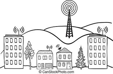 城市, 信號, 插圖, 無線, 房子, 網際網路