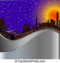 城市, 夜晚, 照明, 背景, 光