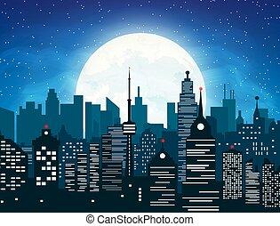 城市, 夜晚, 黑色半面畫像, 天空