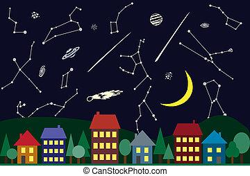 城市, 天空, 上面, 插圖, 夜晚