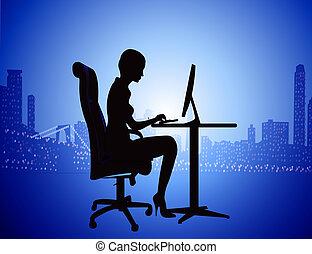 城市, 婦女, 黑色半面畫像, 電腦, 背景, 夜晚