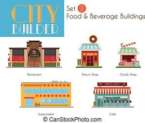 城市, 建筑物, 集合, 食物, 建造者, 2:, 飲料