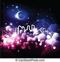 城市, 摘要, 矢量, 背景, 夜晚