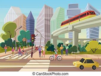 城市, 步行, 街道, illustration., 城市, 現代, 人們, 年輕, 矢量, 卡通