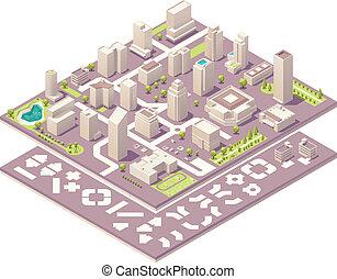 城市, 等量, 創造, 地圖, 成套用具