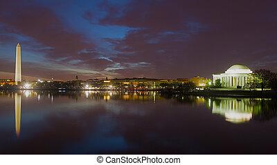 城市, 紀念館, 鮮艷, skyline., 界標, 紀念碑, 華盛頓, jefferson, basin., 夜晚, 潮汐, 反映
