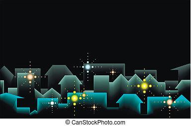 城市, 背景, 夜晚