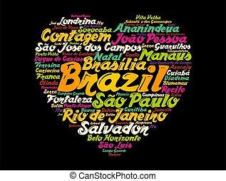 城市, 詞, 巴西, 雲, 目錄, 心