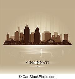 城市, 辛辛那提, 地平線, 矢量, 俄亥俄, 黑色半面畫像