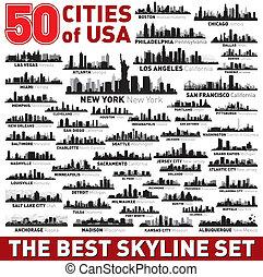 城市, 集合, 黑色半面畫像, 地平線, 矢量, 最好
