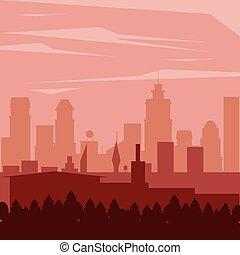 城市, 風景, 背景, 鮮艷, 夜晚