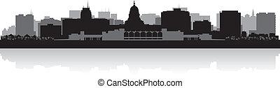 城市, 麥迪遜, 黑色半面畫像, 地平線