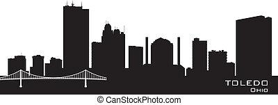 城市, 黑色半面畫像, 地平線, 矢量, toledo, 俄亥俄