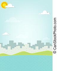 城市, 黑色半面畫像, 背景, 海