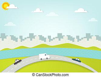 城市, 黑色半面畫像, 路, 背景